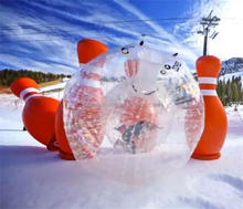 Best price inflatable human bowling ball for outdoor lawn and snow land sport game,huge inflatable blowing pins on sale