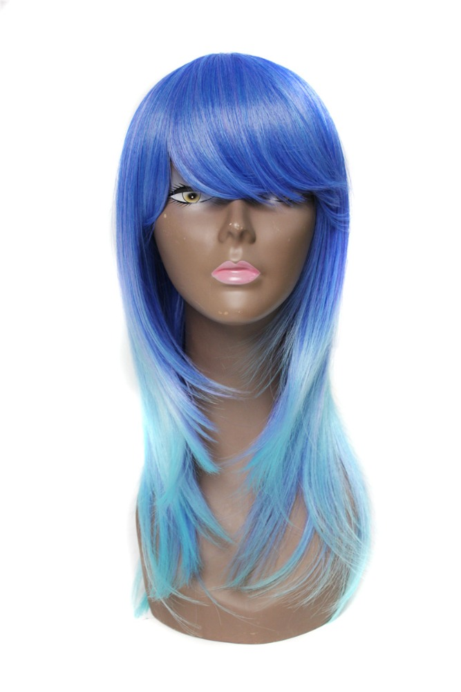 synthetic hair wig ombre orange purple pink blue light dark green also have full lace wig