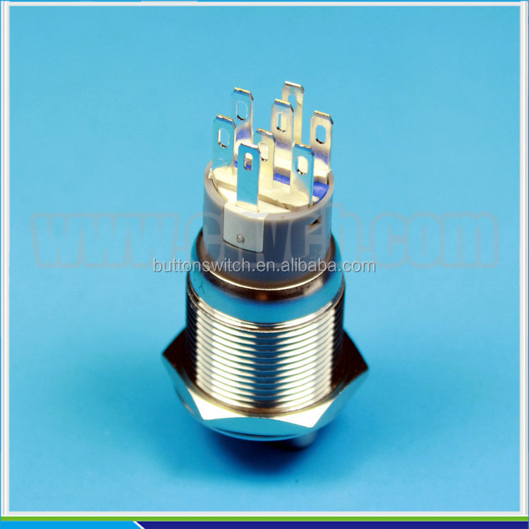 1930XE2 19mm stainless steel waterproof metal led illuminated 2 position or 3 position selecter switch