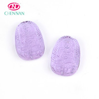 New Design Top Quality Oval shape sculpture crystal glass beads with Different colors amulet Buddha pendant purple 35*58 mm