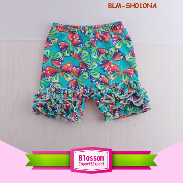 Cheap Wholesale Arrow Anchor Pattern Toddler Girls Icing Shorts Soft Kids Cotton Boutique Girls Shorts Ruffled Shorties