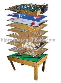 Customized Indoor Kidu0027s Game Table 9 In 1 Backgammon Shuffleboard Foosball  Pool Table
