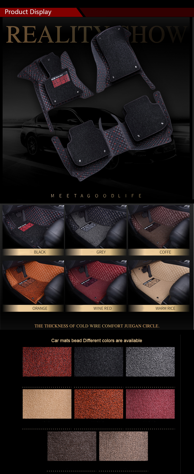 5D Leather Full Set Custom Orange Car Floor Mats