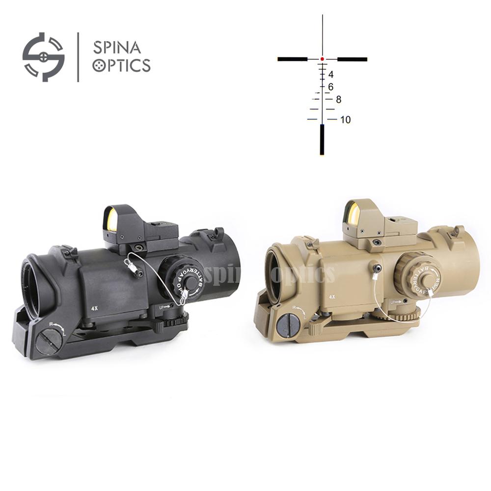 SPINA OPTICS Red Dot Sight1-4x32F + HD400 Optic Sight Hunting rifle scope, Black/sand