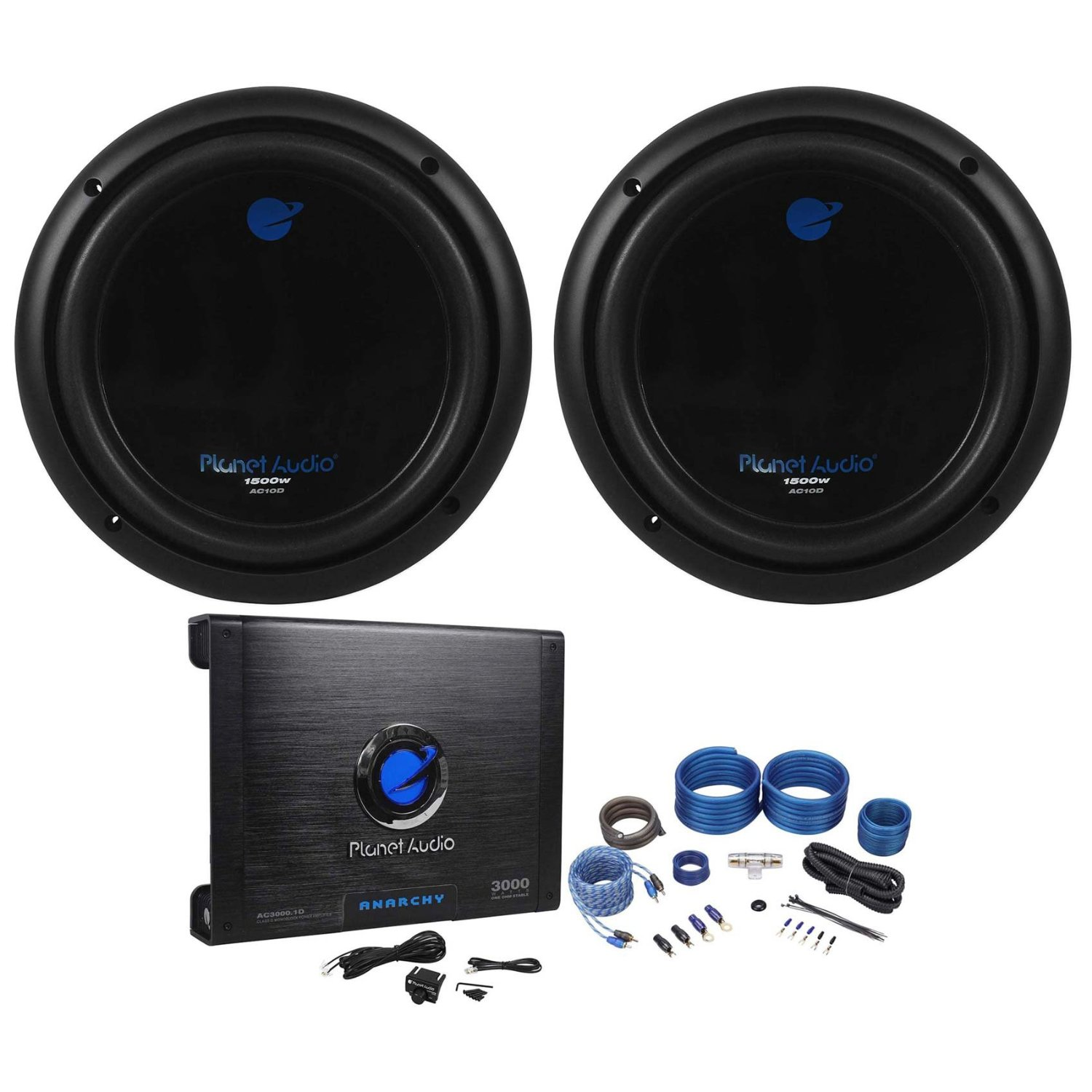 """Package: (2) Planet Audio AC10D 10"""" Dual 4-OHM Car Subwoofers Totaling 3000 Watt + Planet Audio Anarchy AC3000.1D 3000 Watt Class D Mono Car Amplifier 1 Ohm Stable With Remote + Rockville RWK41 4 Gauge 2 Channel Complete Wire Kit With RCA Cables"""