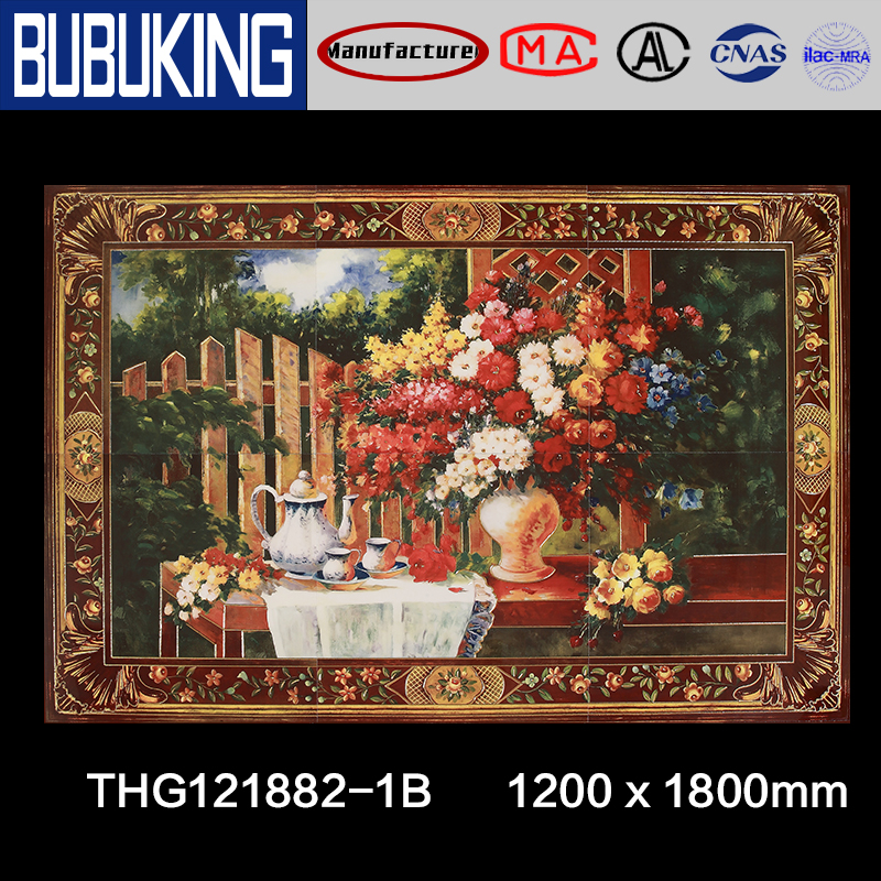 1200*1800mm six in one Bottle of flowers art painting motive wall tile,Foshan tile