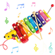 Colorful Dog Hand Knock Wooden Xylophone Musical Toy with 8 Tones