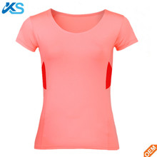 Short Sleeve 100 Poly Plain Dyed Sweat Activated Female T Shirt with Custom Logo
