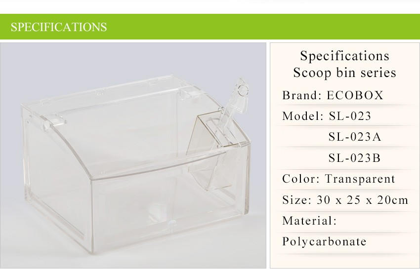 Customize Clear Supermarket gravity feed bins for bulk food and candy