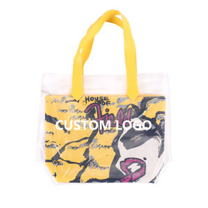 17bf31ff58 Waterproof Gold Transparent Pvc Women Bags Tote Beach Handbags Tote Bag  With Leather Handle Summer beach