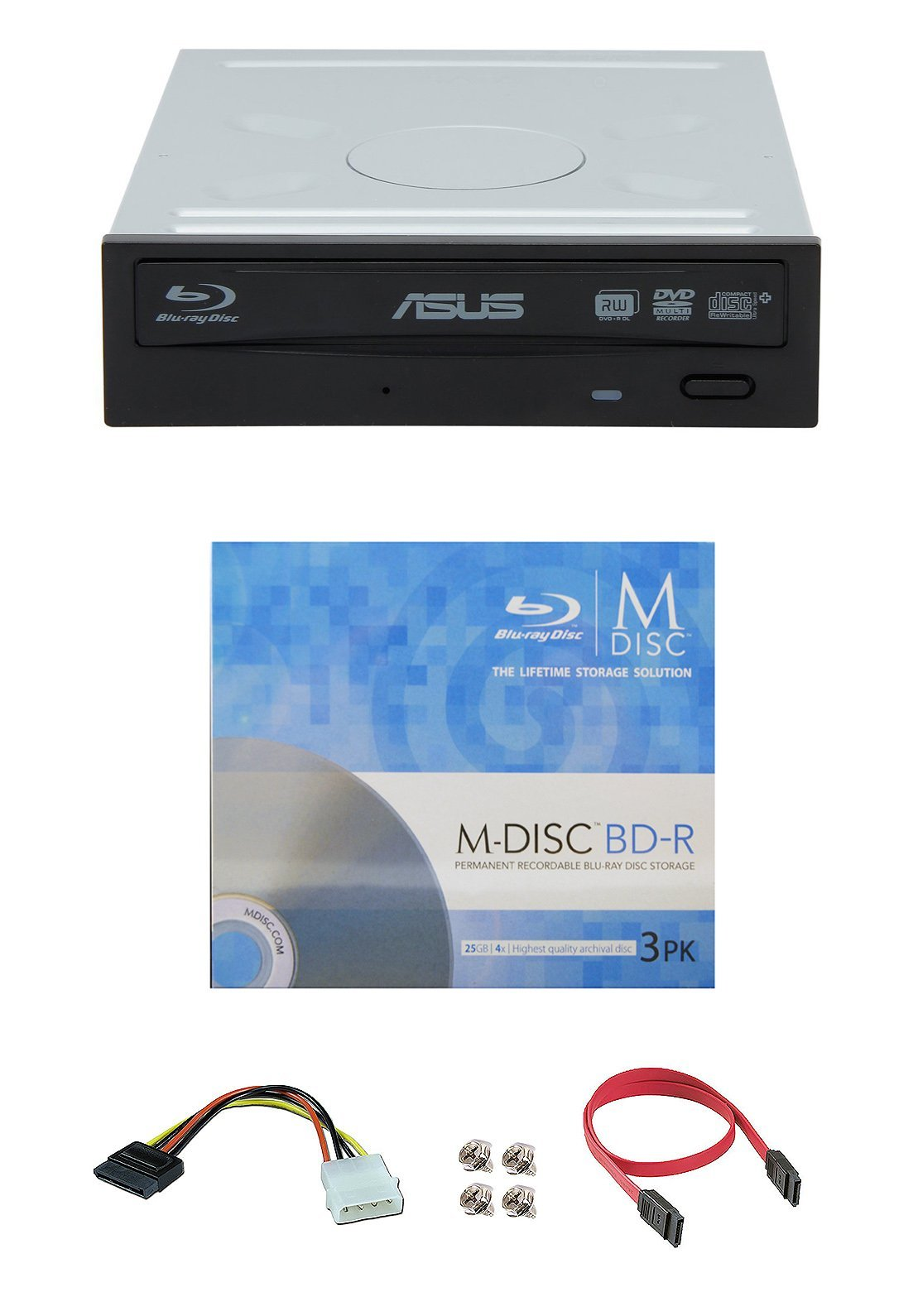 Asus 16x BW-16D1HT Internal Blu-ray Burner Drive Bundle with 3 Pack M-DISC BD and Cable Accessories (Supports BDXL and M-DISC, Retail Box)