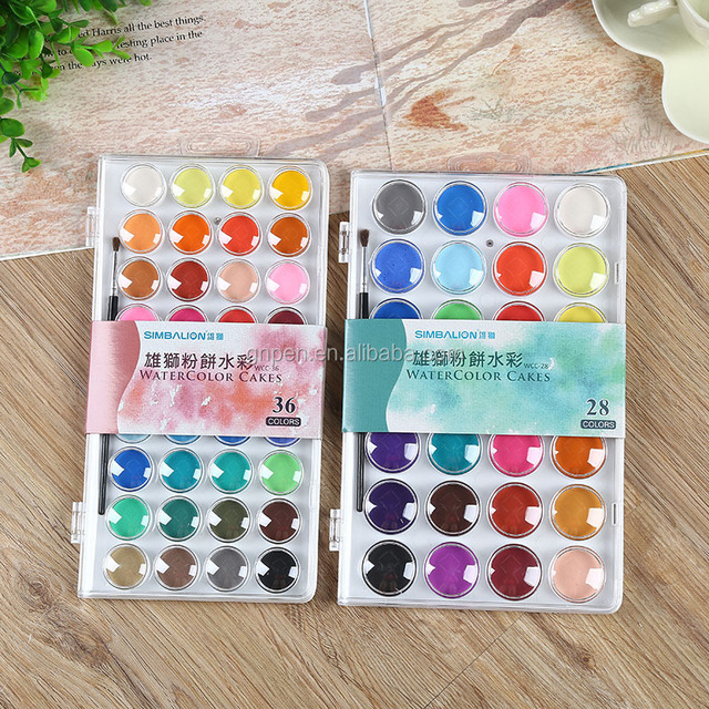 Dry Watercolor Palette With Brush For Painting Bright Water Color