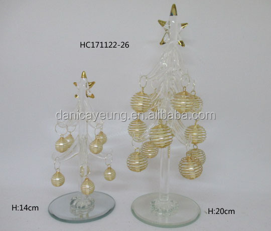 Glass Christmas Tree, Small Glass Table Top Decoration with ball Ornaments, Holiday Season Decor