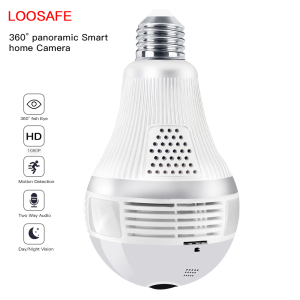 1080p Loosafe ip wifi bulb security spy camera 360 degree panoramic camera
