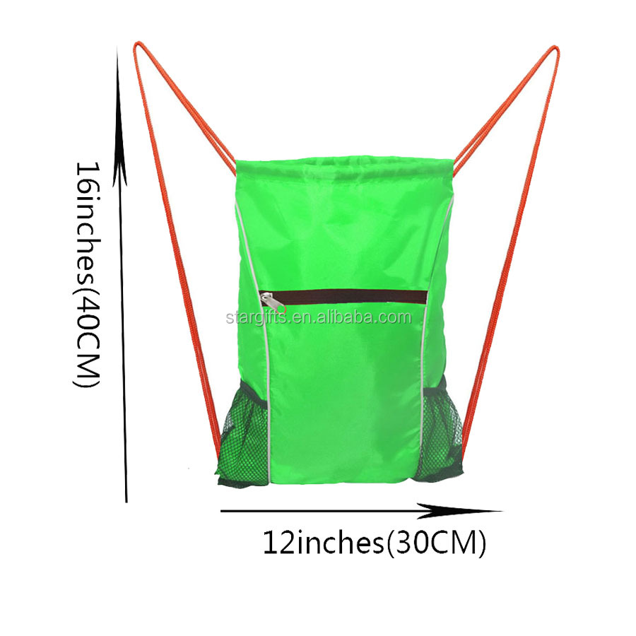2019 Waterproof Custom Reusable Sport Gym Drawstring Backpack Bag with Side Mesh Bottle Holder
