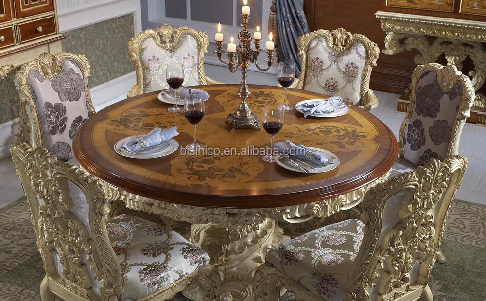 Bisini Luxury Wooden Round Dining Table Luxury Baroque