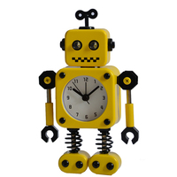 Small spring creative metal robot toy clock