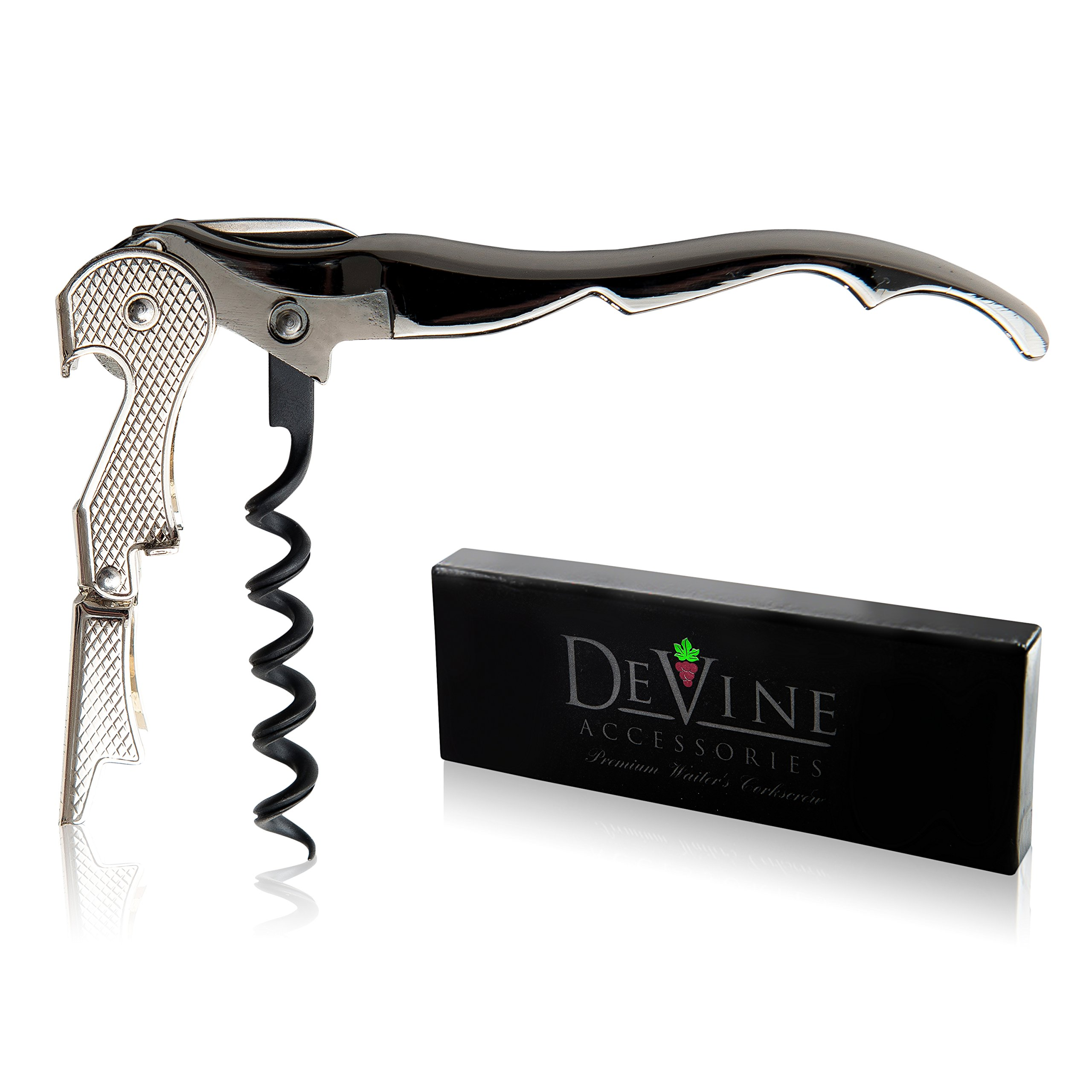 Premium Waiter's Corkscrew – Professional Grade Handheld Wine and Bottle Opener with Metalic Handle, Double Hinged Lever and Foil Cutter - by DeVine Accessories