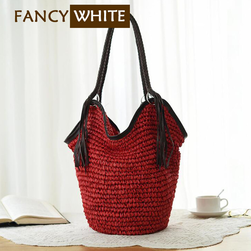 Summer travel custom colored tassel bag paper straw handbag women