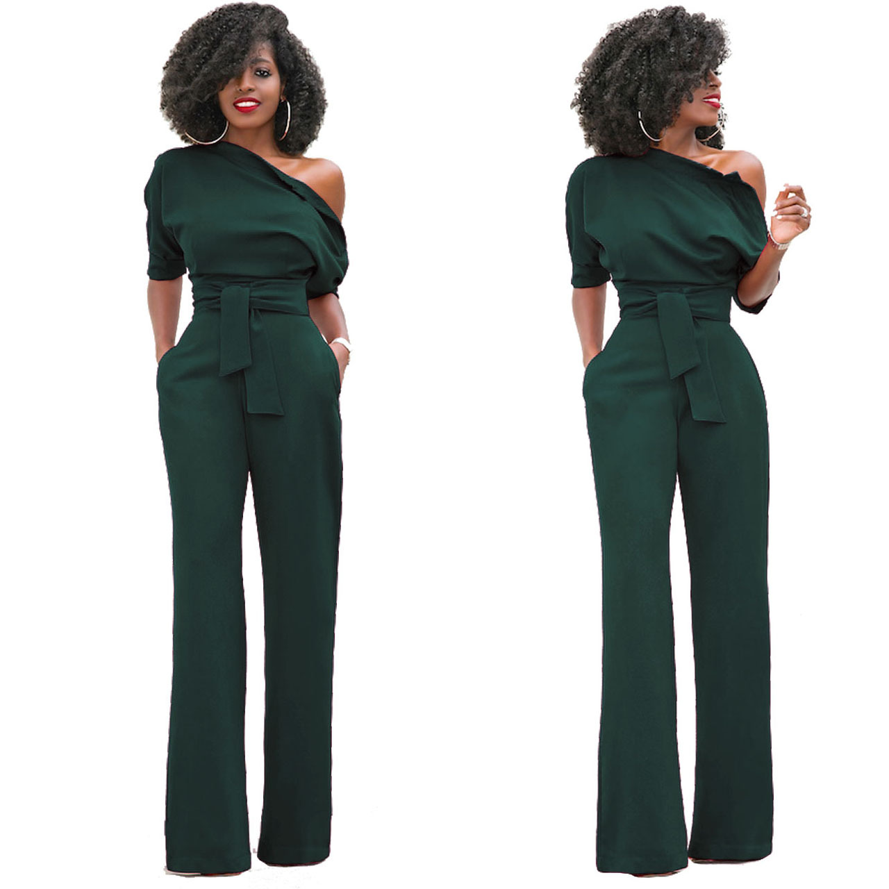 2019 New Design Women Summer Solid Color One Off Shoulder One Piece Sexy Ladies Jumpsuit
