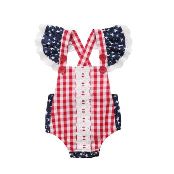 Kids Baby Girl Plaid Romper Outfit Backless Ruffle Sleeve Romper