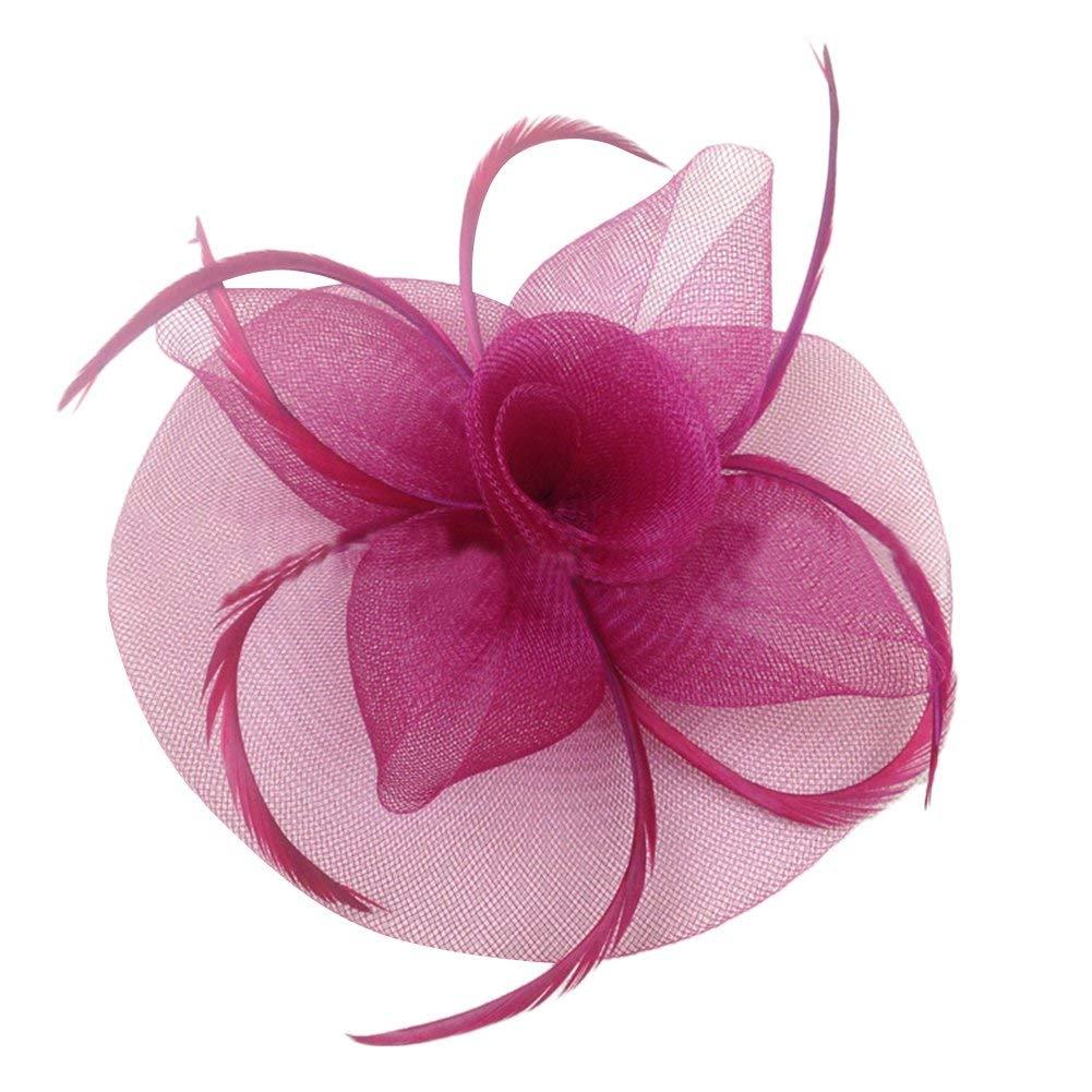 25927d38d4c Get Quotations · JoyVany Women Fascinator Hat with Headband Tea Party Derby  Wedding Hair Clip Hat