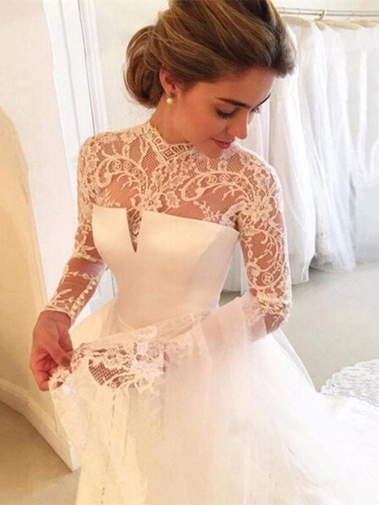 Zh2918g Elegant Long Sleeves Lace High Neck Satin A Line Wedding