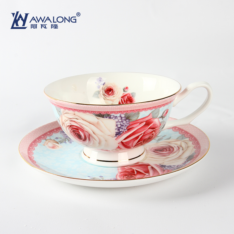 China in-glaze floral tea cups, OEM bone china coffee cup set, rose flower full painting cup saucer