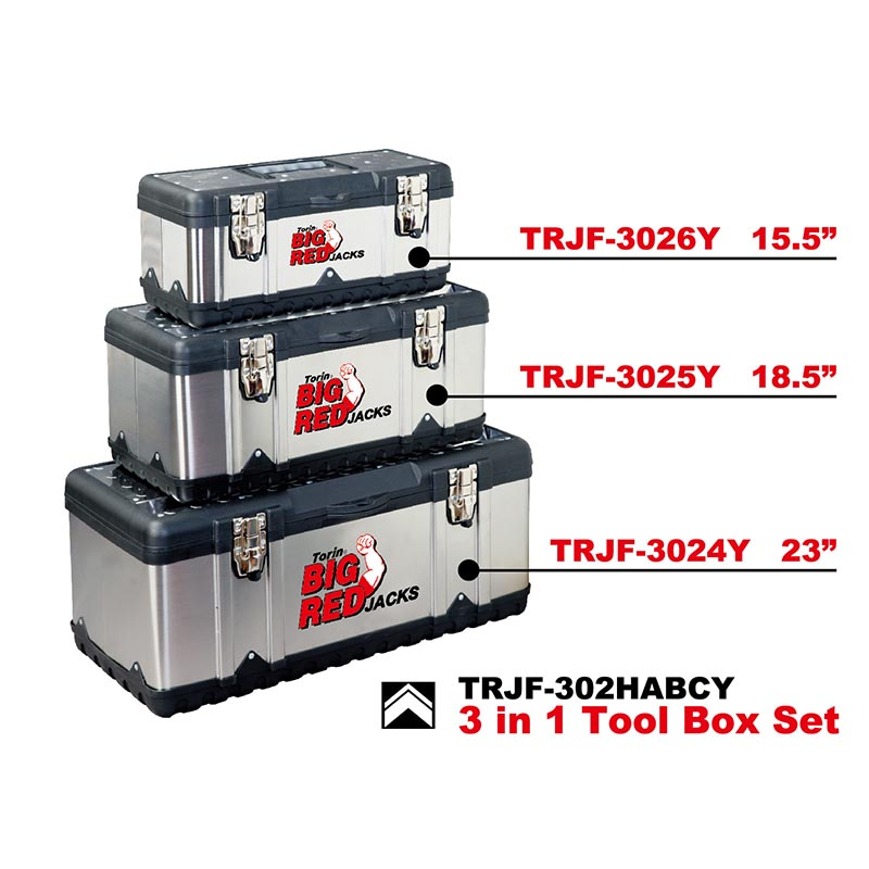 Torin BigRed plastic & stainless steel 3 in 1 tool box set TRJF-302HABCY