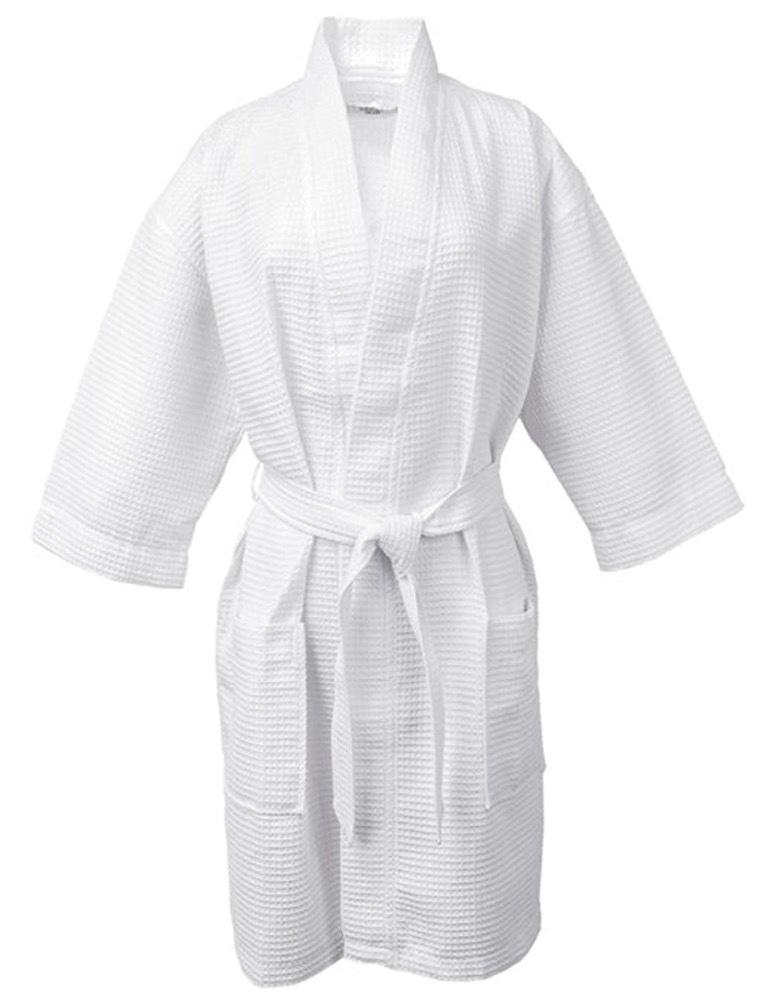 100% Turkish Cotton White Waffle Kimono Unisex Spa Robe фото