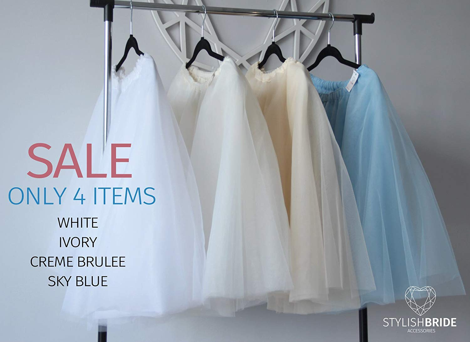 2b463d2393 Get Quotations · SALE! Simple Tulle Skirt, White Ivory Vanilla Creme Sky  Blue Tulle Skirt Bridal,