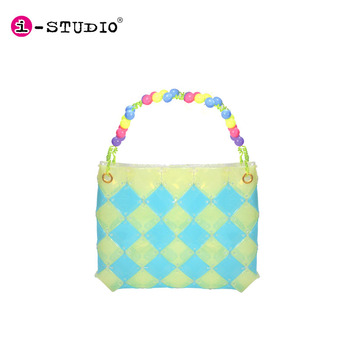 Discount Promotion DIY fashion bags ladies handbag stylish purse with beads handle