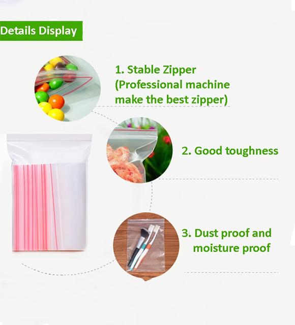 Şeffaf PE şeffaf zip kilit plastik torba için şeker kuru gıda