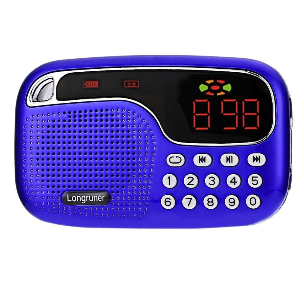 Longruner USB FM Radio, Multi-Functional LED Portable Mini USB FM Radio Speaker MP3 Music Player with Radio Function Support TF Card/USB Disk