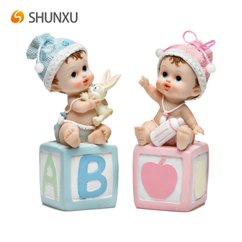 Cute Baby Boys and Girls Resin Art Craft Figurine Favors for baptism birth baby shower first Cream Pink Blue Wholesale