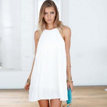 dfb09550cfb WAT1546 white chiffon dress simple folds one piece woman summer dress