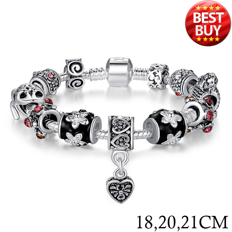 2016 Russia Belarus Popular 925 Silver Heart Charm Bracelet Bangle With Glass Beads Jewelry PA1034