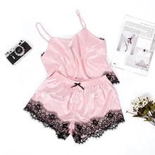 Suphis Розовая атласная пижама, женская летняя одежда для сна, сексуальный топ на тонких лямках, шорты с бантом, Шелковый комплект кружевной пи...(Китай)