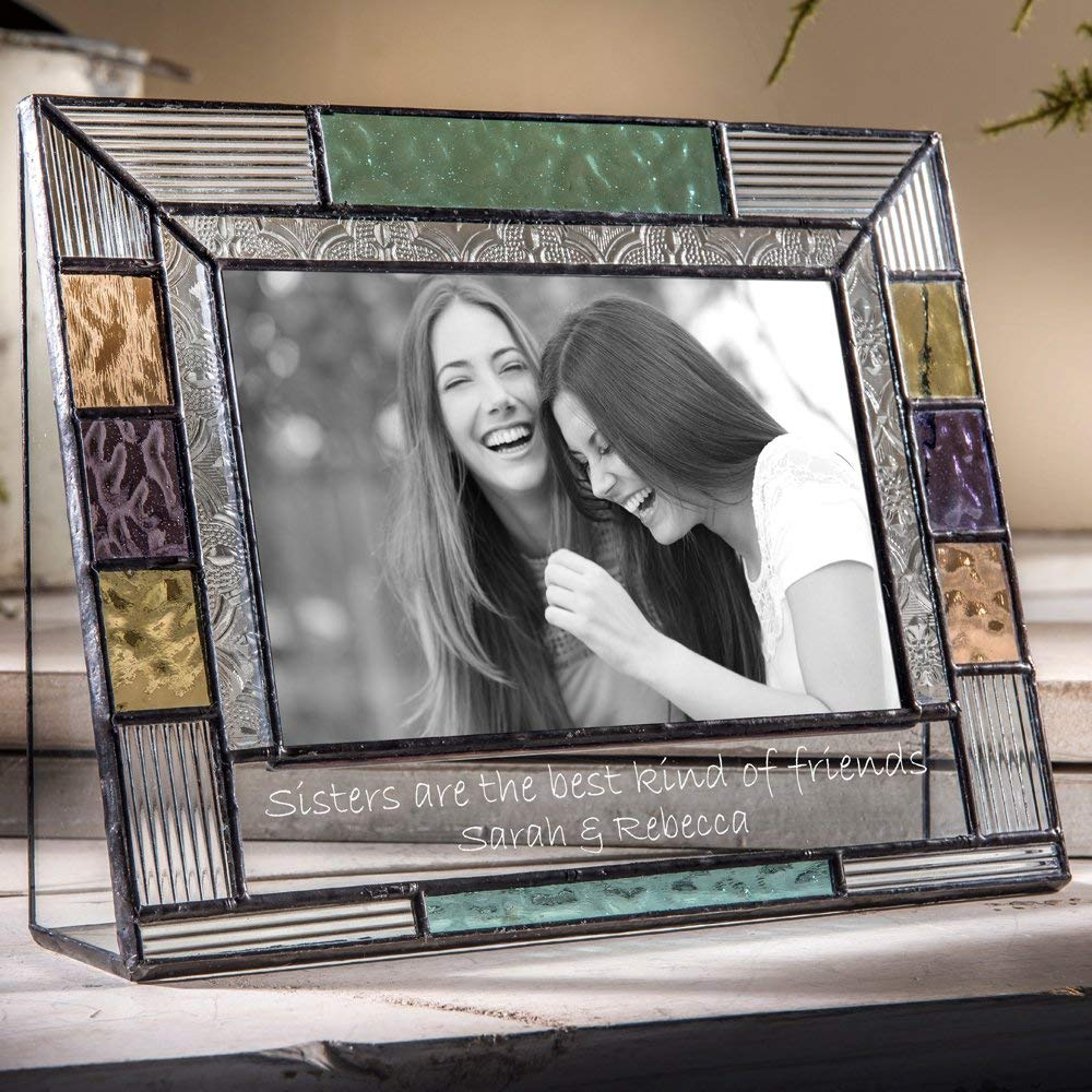 J Devlin Pic 391-46H EP570 Personalized Picture Frame for Sister Colorful Stained Glass Engraved 4x6 Horizontal Photo Keepsake Gift
