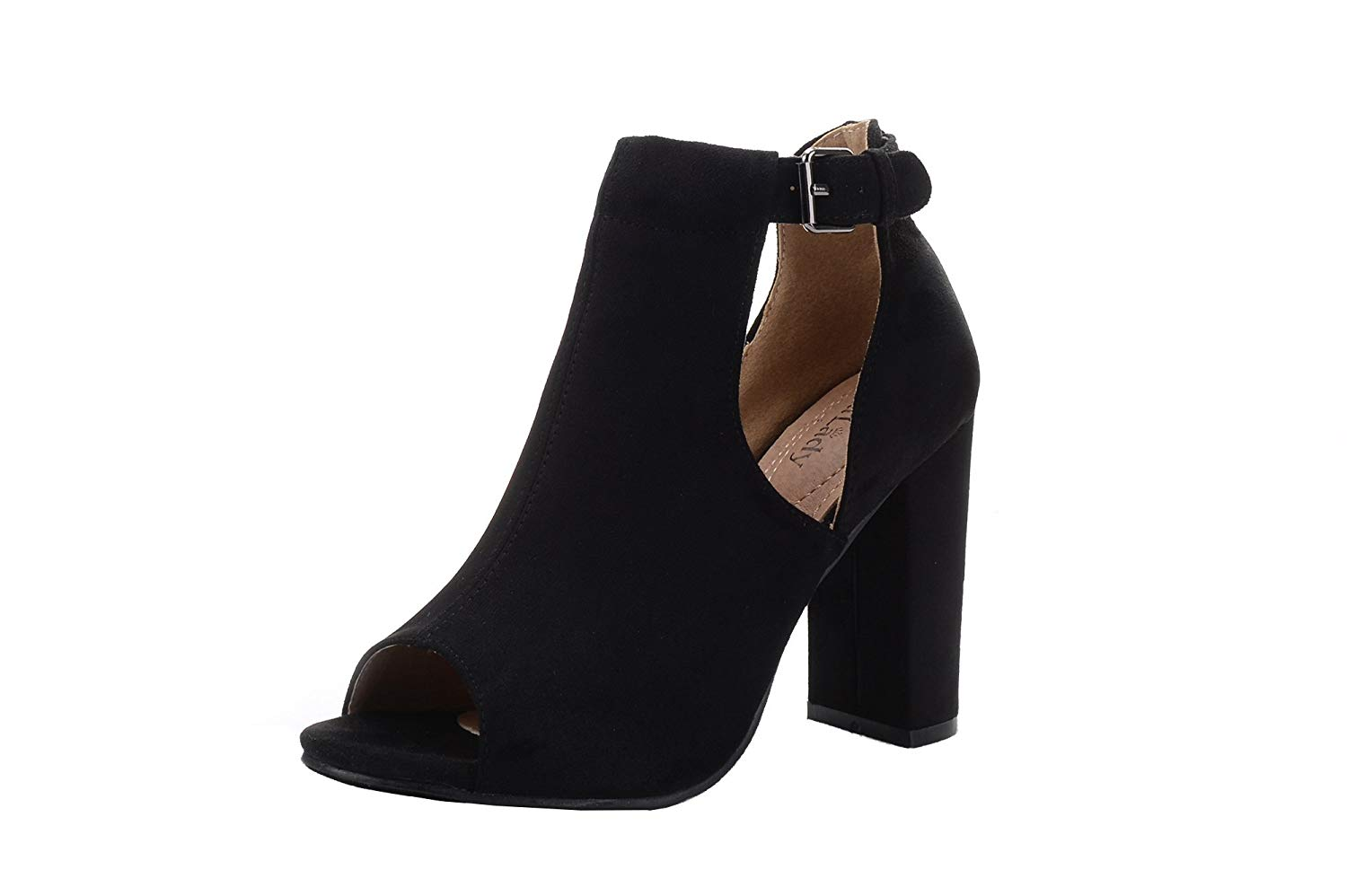 795d6a22fd6 Mila Lady Crystal Women s Stacked Peep Toe Chunky Mid Heel Cutout Side Ankle  Straps Bootie