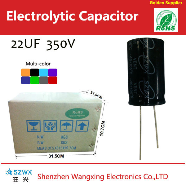 22uf 350v aluminum electrolytic capacitors for photo flash 8000H 13*20mm 105C