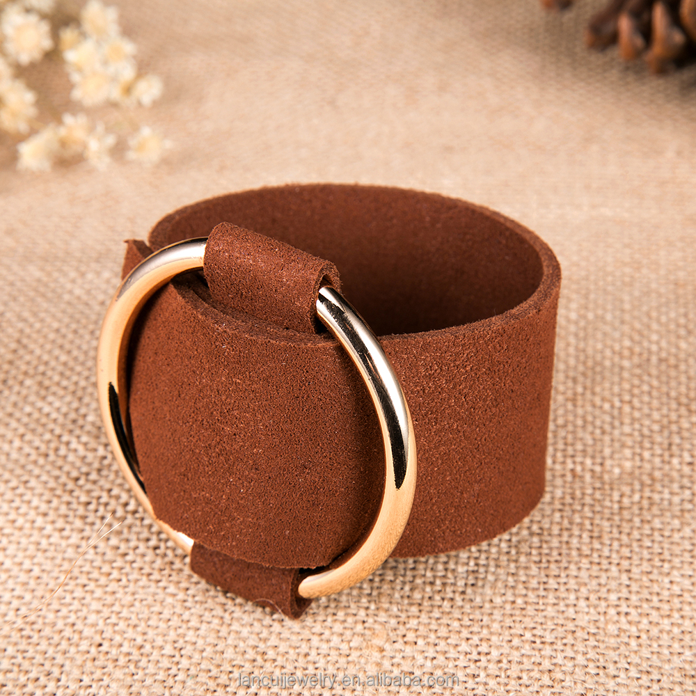 All-match Suede Leather Belt Buckle Wide Bracelet Round Bangles Fashion Charm Jewelry For Women