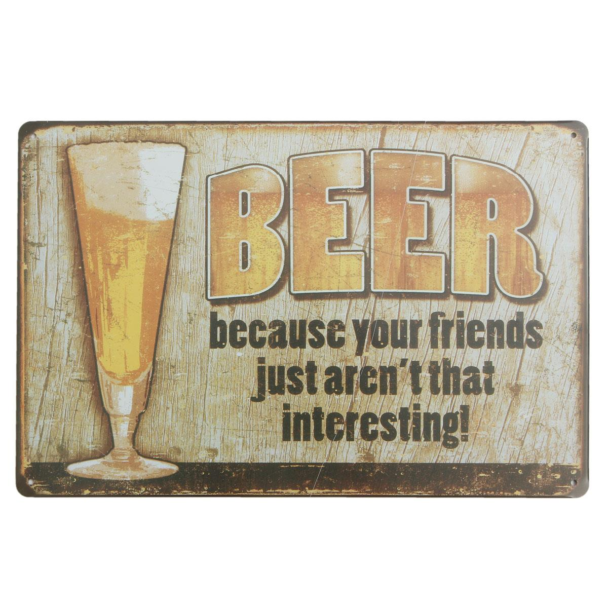 New Arrival BEER BECAUSE Vintage Metal Tin Sign Bar Pub Home Wall Decor Retro Metal Art Poster Decoration 30*20*0.2CM