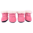 F125 Warm Small Dog Snow Boots Waterproof Suede Puppy Cat Booties Anti-Skid Pet Winter Cat Safety Shoes