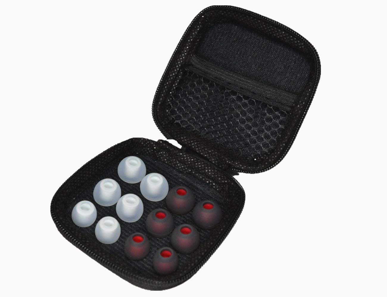 Silicone Headphone Tips Replacement ( Black-red /Clear Color,Each of 3 pairs), with the Black Earphone Carrying Case