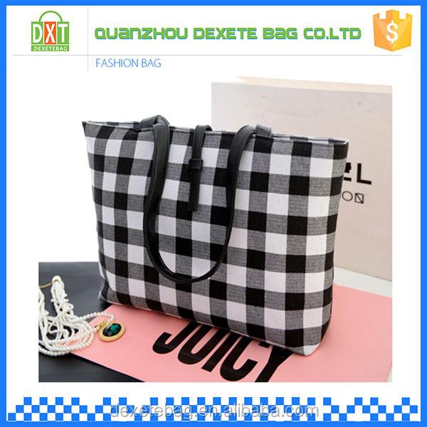 9077a48a80dd black and white grid lady canvas fabric handbags