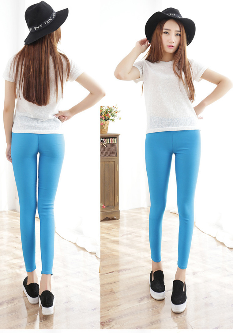 013c4be182b Get Quotations · Candy color nine points of tall waist show thin legs  pencil pants feet pants leggings fashion