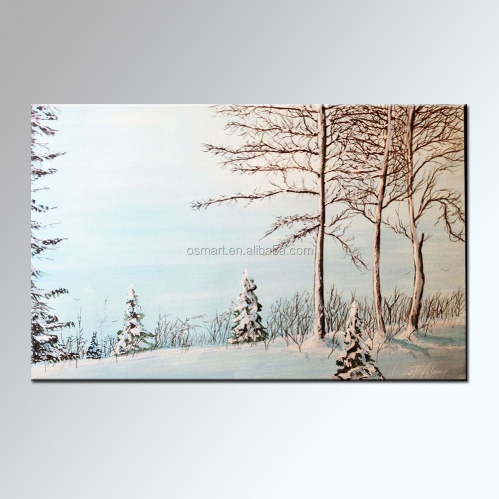 Hand bemalte leinwand abstrakte winter schnee landschaft lgem lde malerei kalligraphie - Bemalte leinwande ...