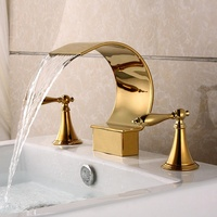 Widespread 3 Holes Bathtub Faucet Waterfall Spout 2 Knobs Mixer Tap Gold Polished For Bathroom