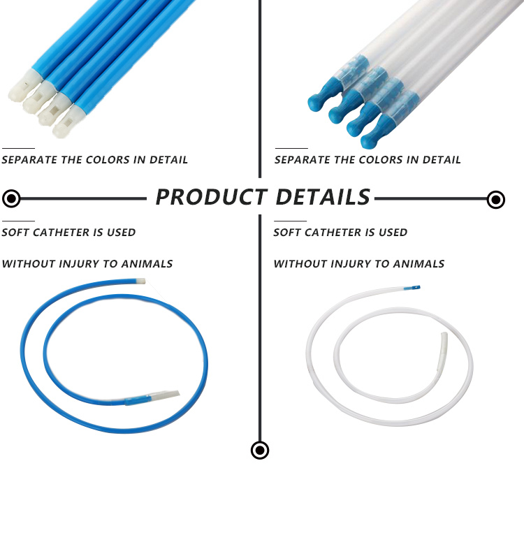 PE Tube Superior Quality Blue Tip semen catheter for pig Wholesale Foam head Pig Semen Catheter